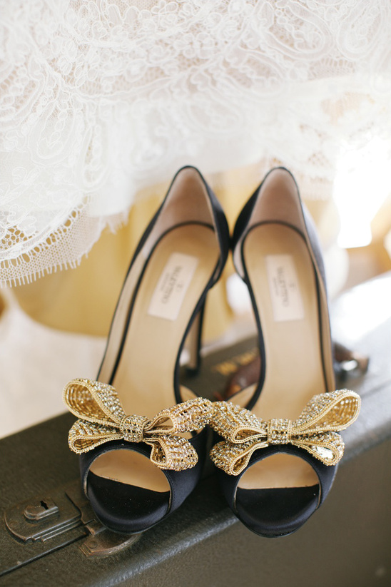 black and gold Valentino wedding shoes