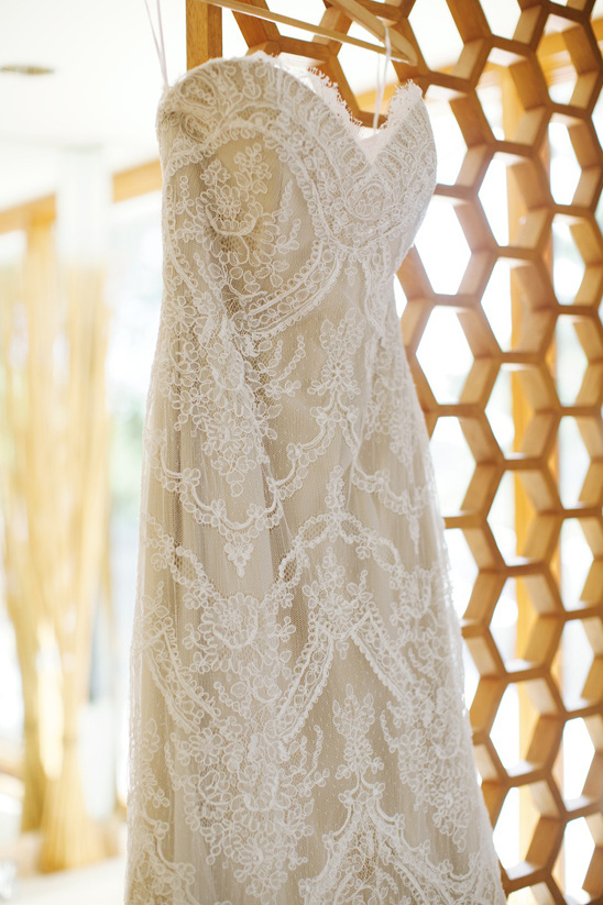 strapless lace overlay wedding dress