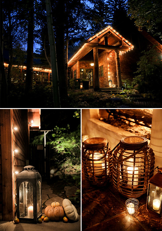 romanticly lit mountain reception