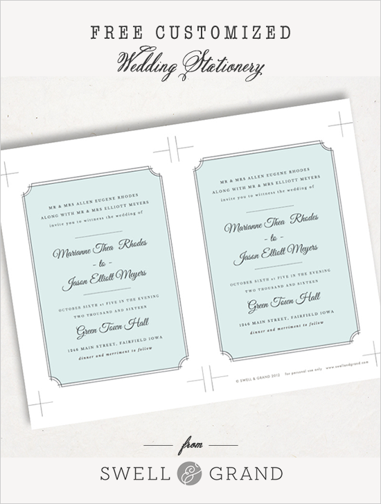 Free Customized Wedding Invite