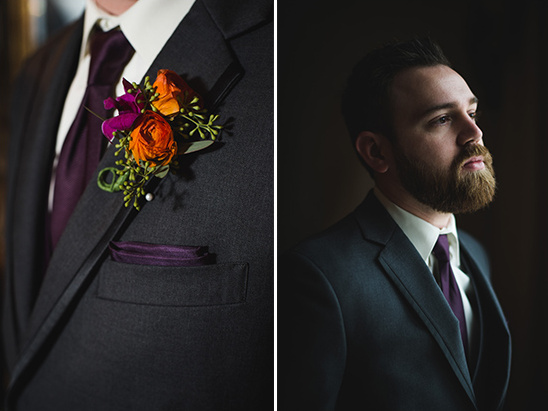 deep purple groom accents