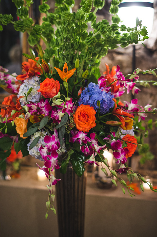 orange and purple flower arrangement