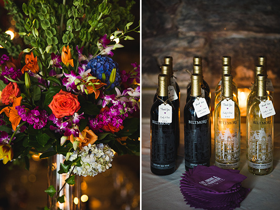 vibrant flowers and wedding wine