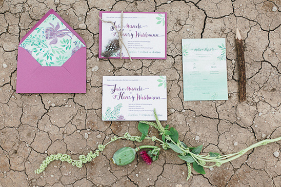 pretty purple and green wedding stationery