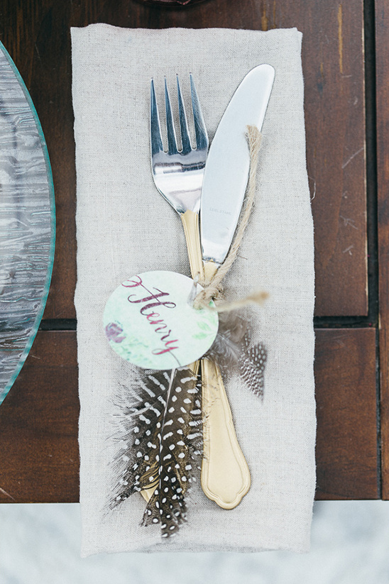 feather embellished flatware