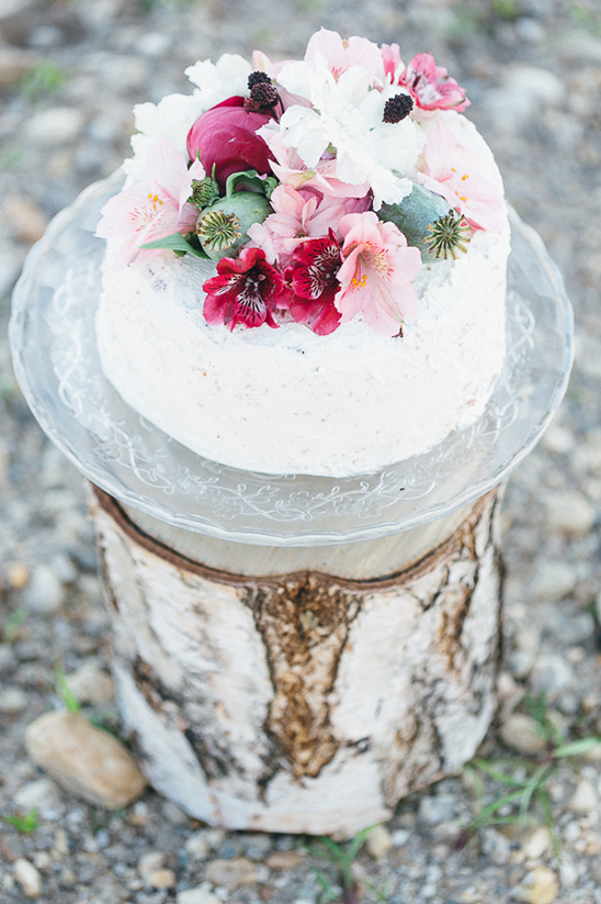 pink flower topped cake