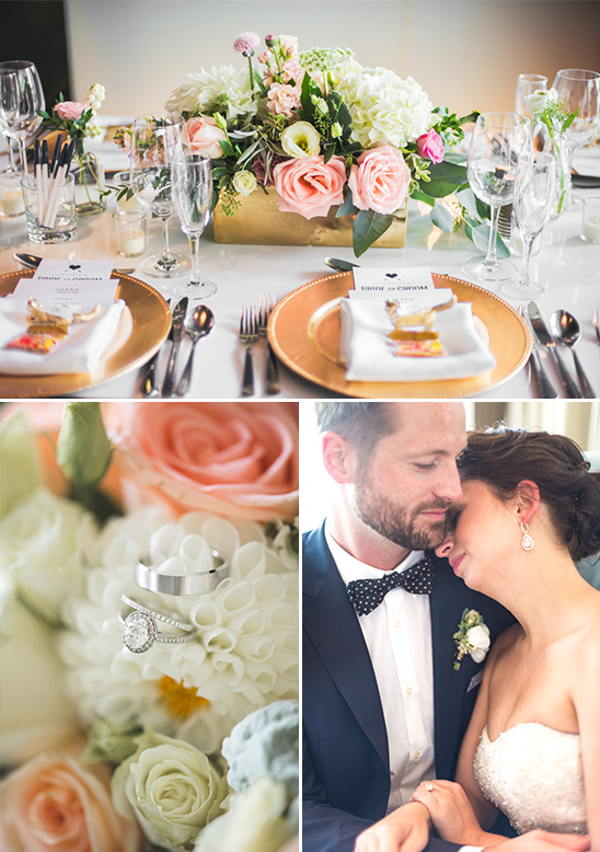 glamorous gold and peach table decor