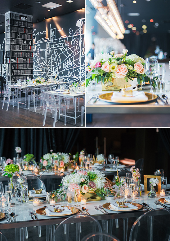 dramatically modern black and gold reception