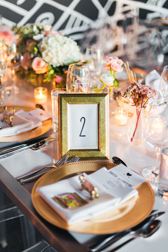 modern black and gold reception