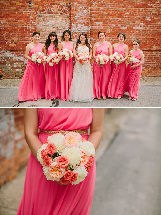 floorlenth coral grecian style bridesmaid dresses