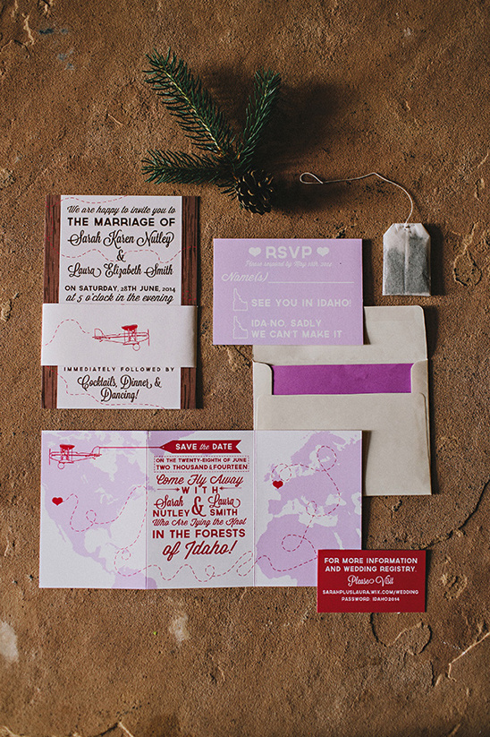 travel themed wedding stationery by Julia Green Illustration