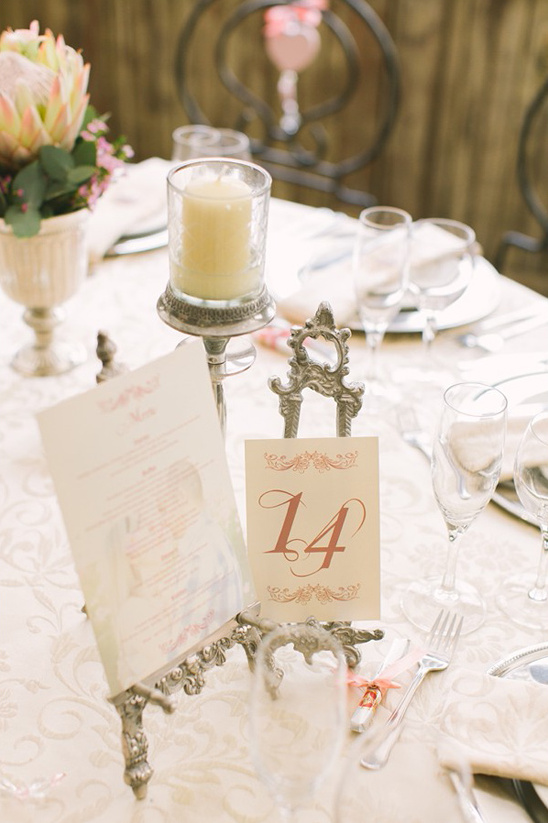 antique table number and menu stand