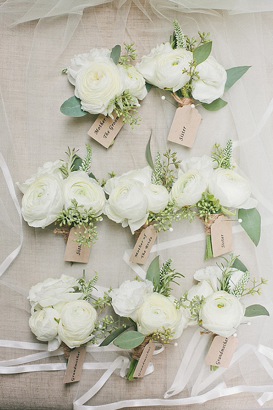 white flower boutonnieres
