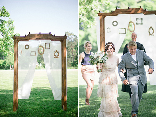 wedding ceremony arbor with frames