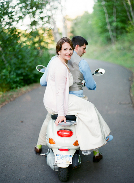 scoot away on a wedding moped
