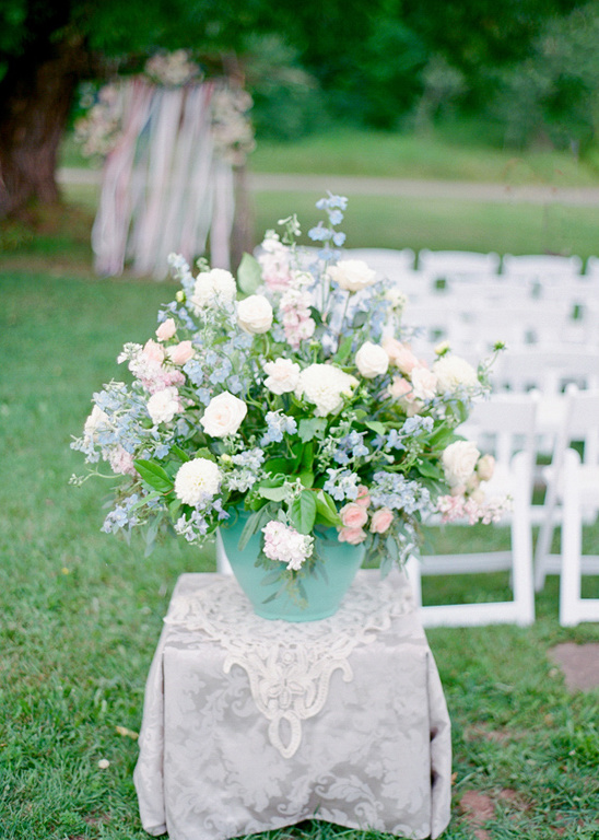 pastel blue and pink floral arrangement