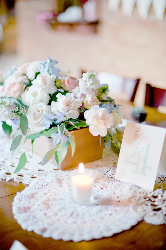 tea party styled reception tables