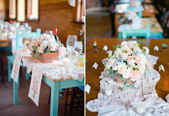 sweetheart table with wedding chicks signs