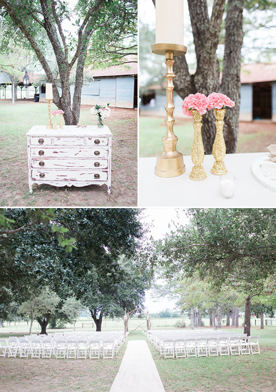 gold and white wedding ceremony