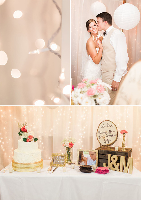 cake table with twinkle light backdrop