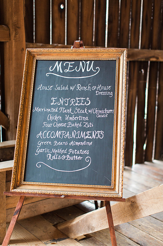 framed chalkboard menu