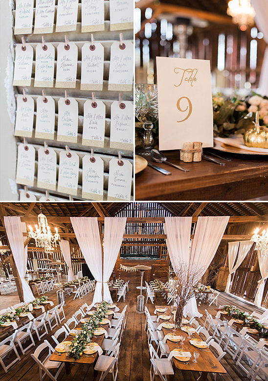 glamorous gold and white barn wedding