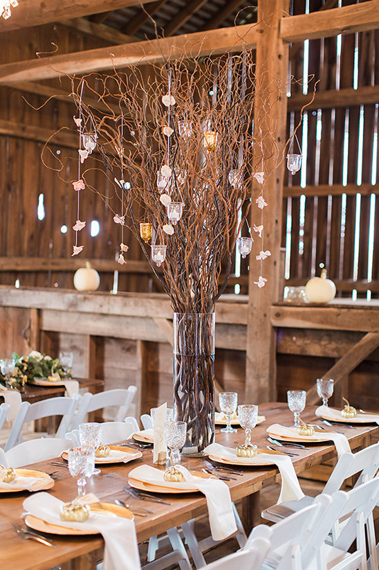 organic branch and candle centerpiece