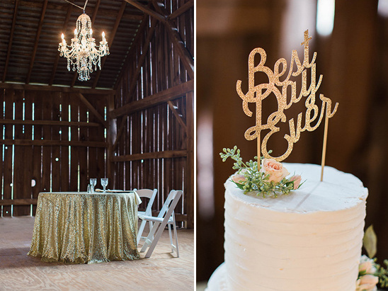 glamorous sweetheart table and glitter cake topper