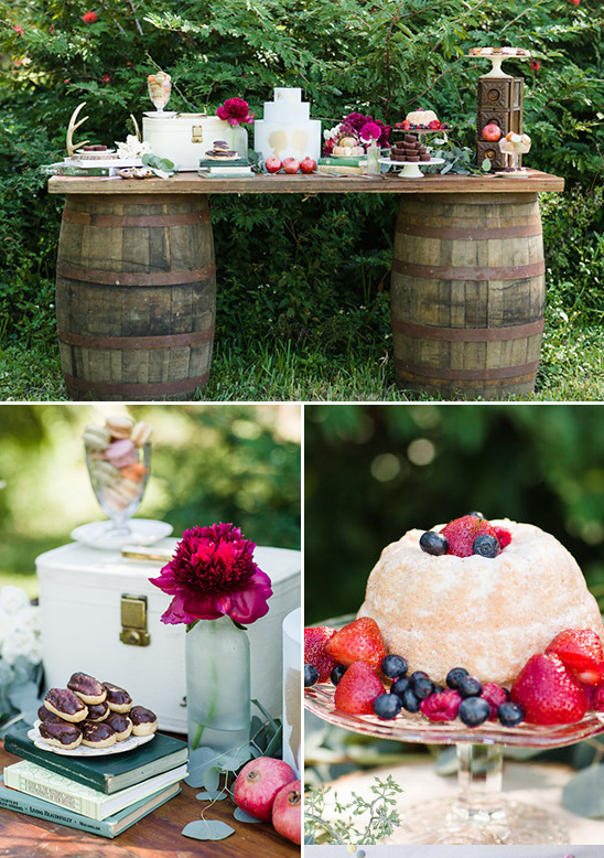 whiskey barrel dessert table