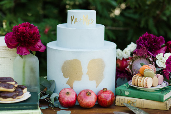 mr and mrs silhouette wedding cake