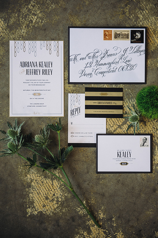 classy black white and gold wedding stationery