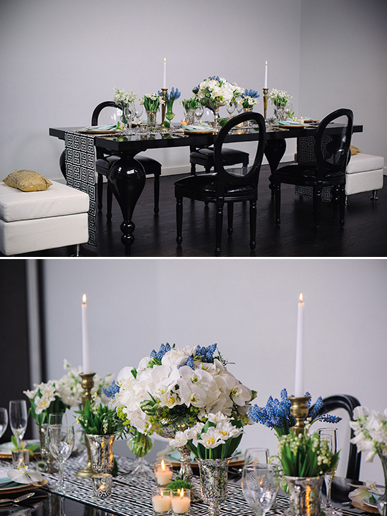 black and white tablescape idea