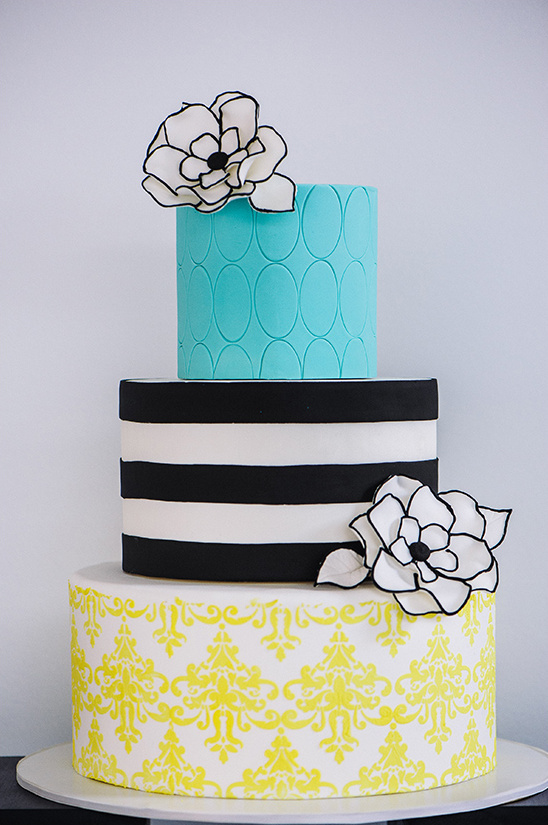 bright yellow and blue cake with black and white accents