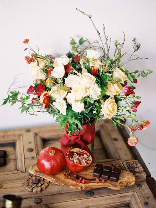 red and white flower centerpiece