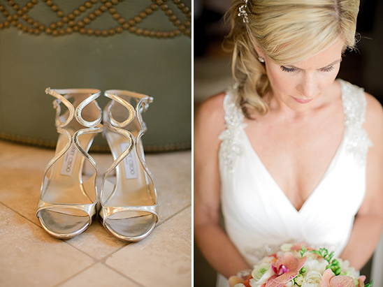 strappy Jimmy Choo wedding shoes