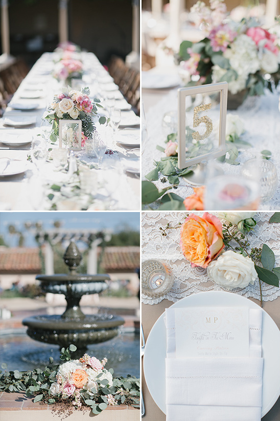 lace roses and glitter reception decor