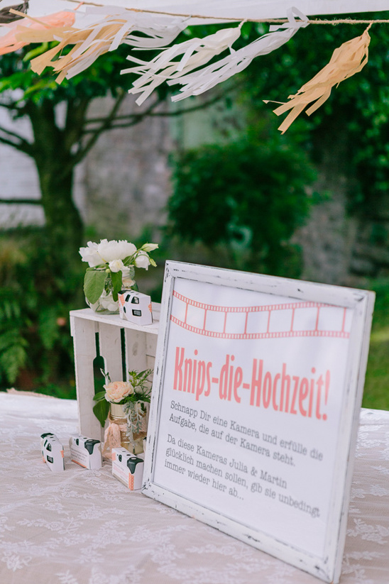 grab a camera complete the task on the back of the camera and leave it for the bride and groom
