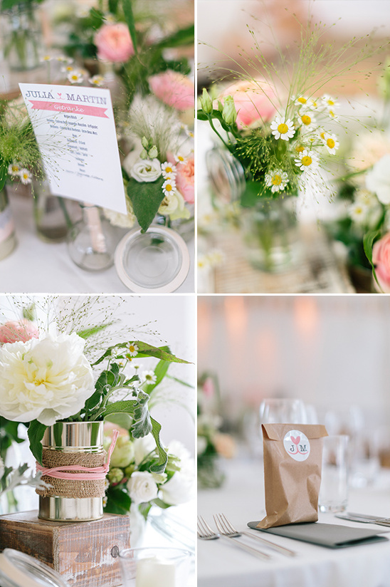 burlap and wildflower table decor