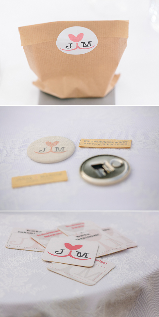 favor bag with bottle opener magnet and coasters