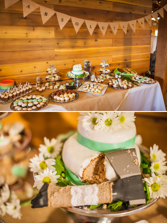 rustic dessert table and cake cutting hachet