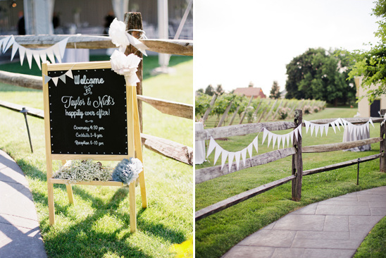 wedding welcome sign and cute bunting banner