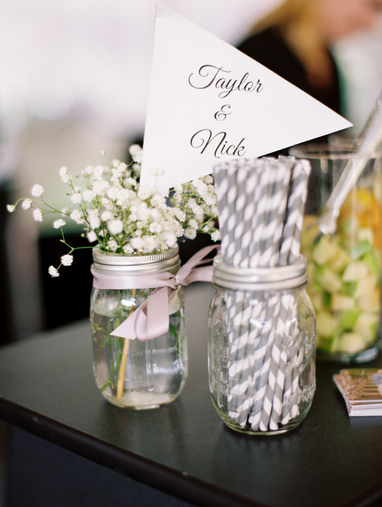wedding pennent with fun striped straws