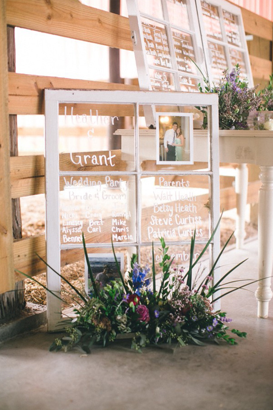window wedding program and table assignments