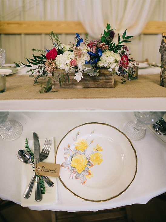 flower box centerpiece and vintage china