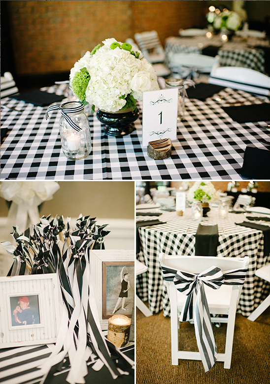 black and white rustic charm reception