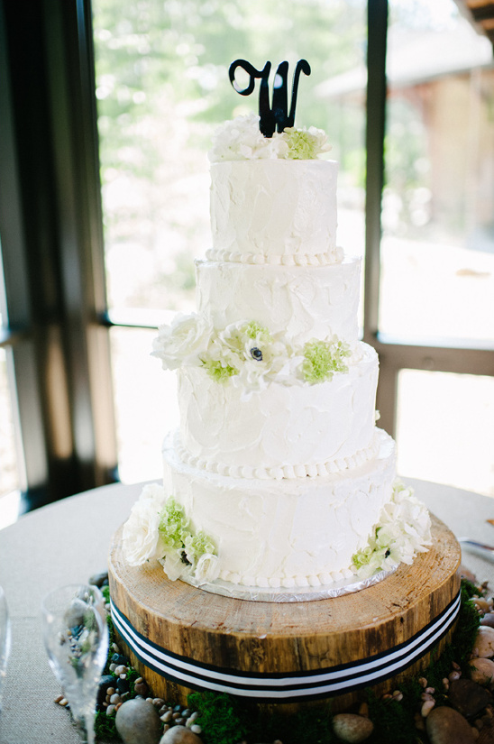 initial topped wedding cake
