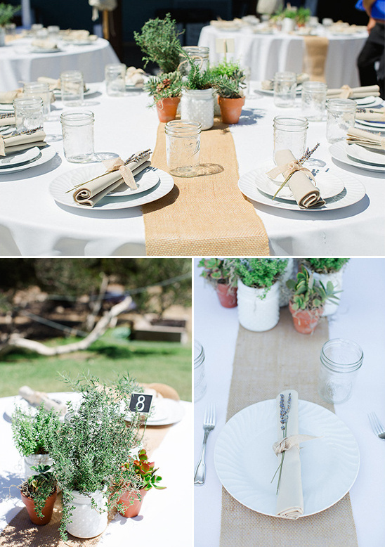 burlap and lavender place settings