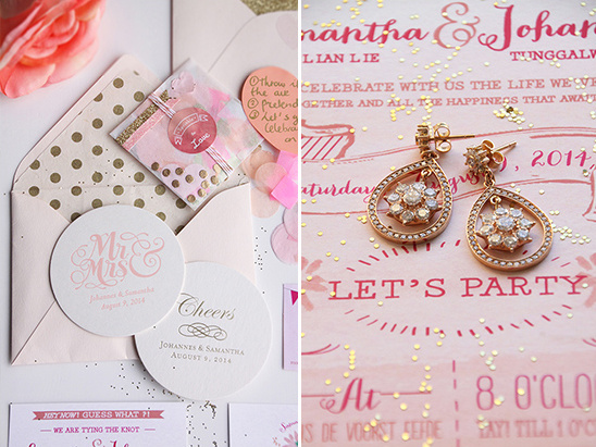 gold pink and peach stationery