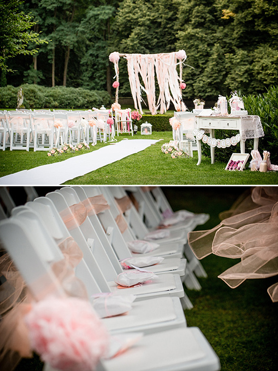 pink and white outdoor wedding