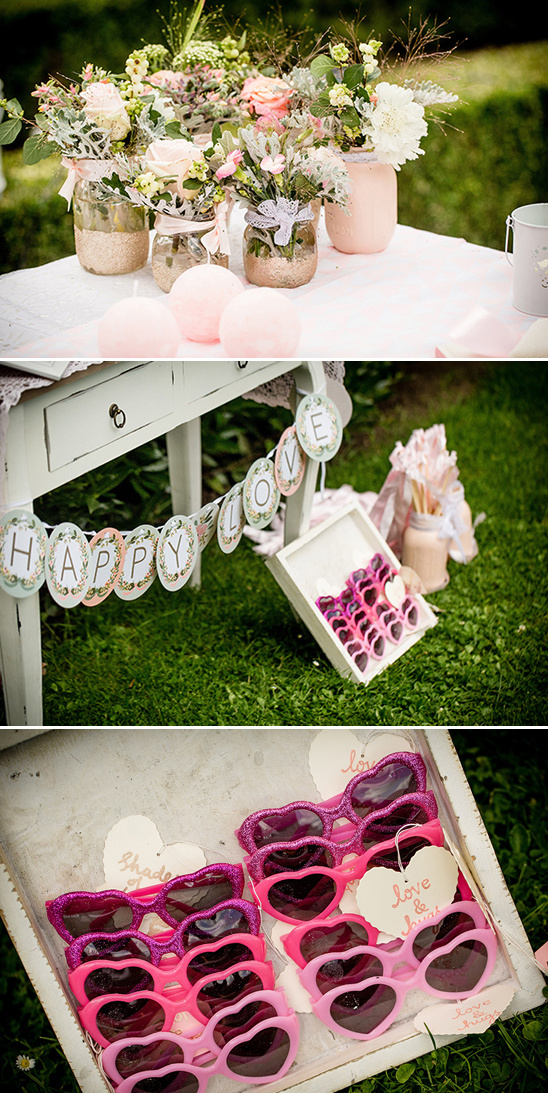wedding welcome table and shades
